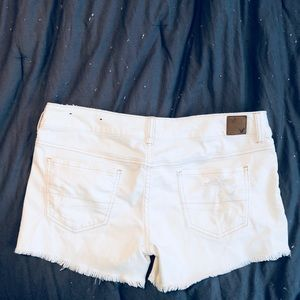 American Eagle Outfitters Shorts - White distressed American Eagle shorts - size 8.